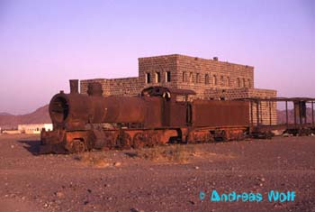 Hijrah Railway - Al Buways Station with old train ambushed by Lawrence of Arabia.